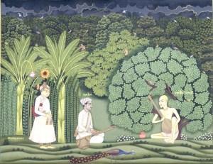 Akbar and Tansen visit Swami Haridas in Vrindavan.