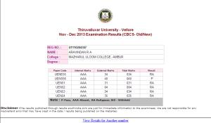 Aravindhan III BA Eng  -- TVU anamoly