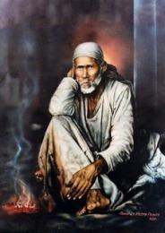 Sai Baba in front of Dwarkamai Dhuni